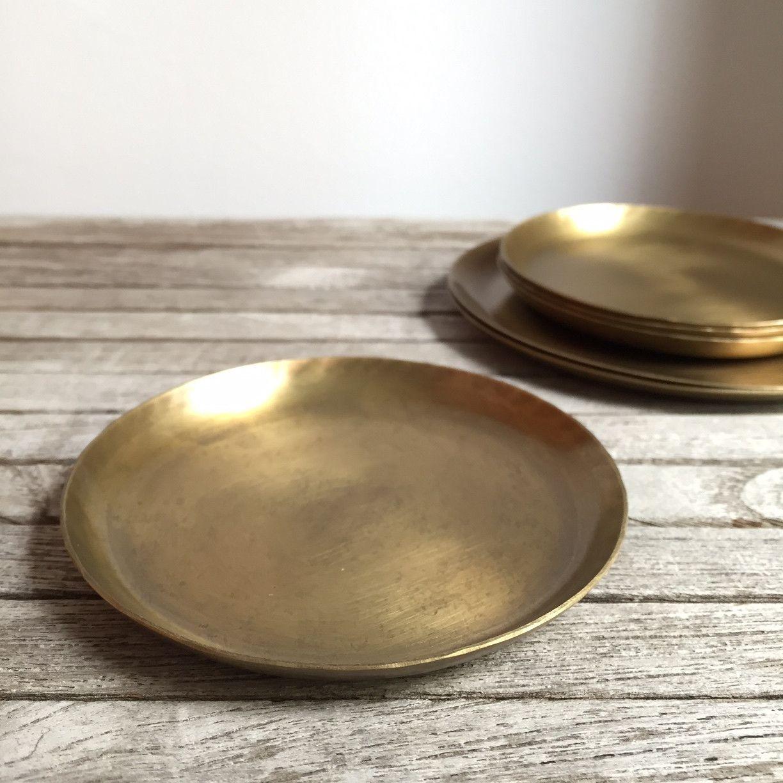 Brass Plate Round Small Vintage Brass Decor Rustic Plates Brass Tray [ 1224 x 1224 Pixel ]