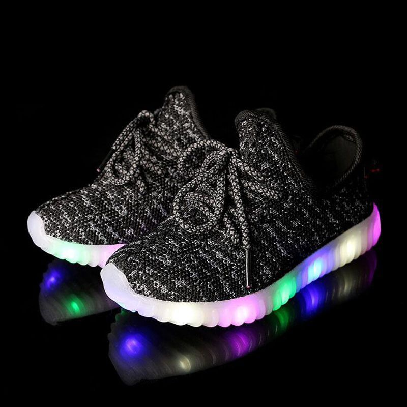 2f5585cb9 Eur22-36 girls boys led yeezy shoes Kids light up Shoes for children girl  luminous shoe baby boy breathable glowing sneakers TW