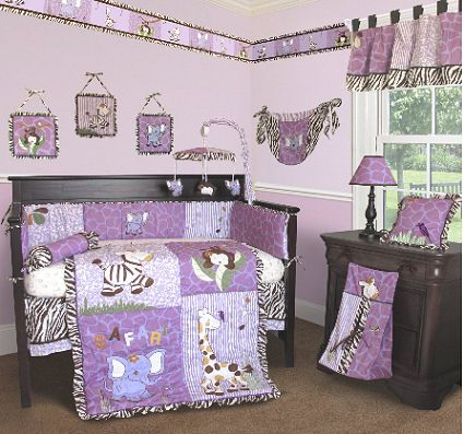 Lavender And Purple Giraffe Crib Bedding Set With Zebra