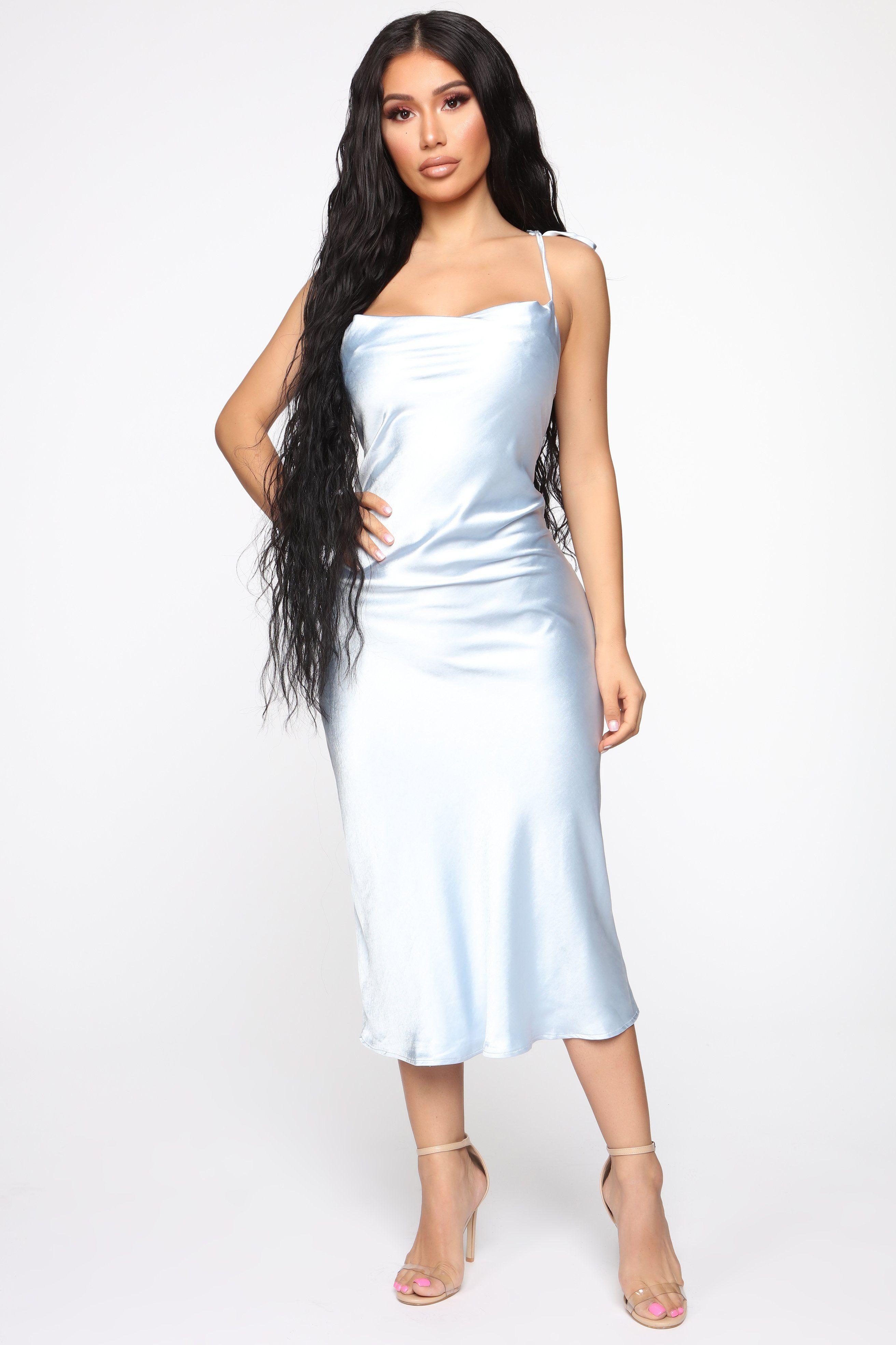 Follow me satin slip midi dress light blue satin mini