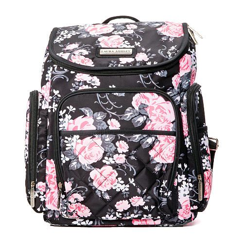 f62db4204f6 Laura Ashley 4-in-1 Floral Zip Around Backpack Diaper Bag - Black - Laura  Ashley - Babies