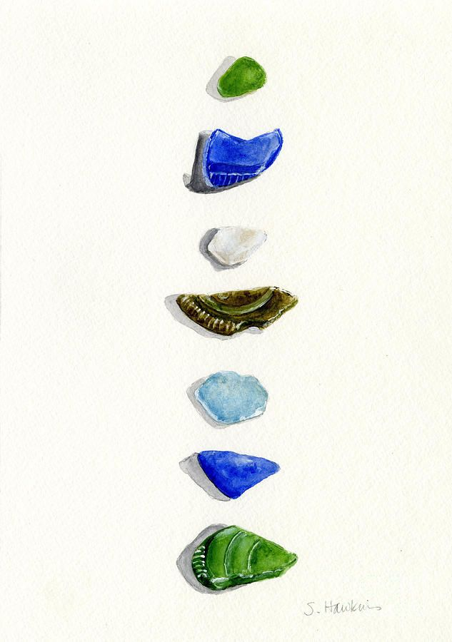Sea Glass Watercolor By Sheryl Heatherly Hawkins Sea Glass Art