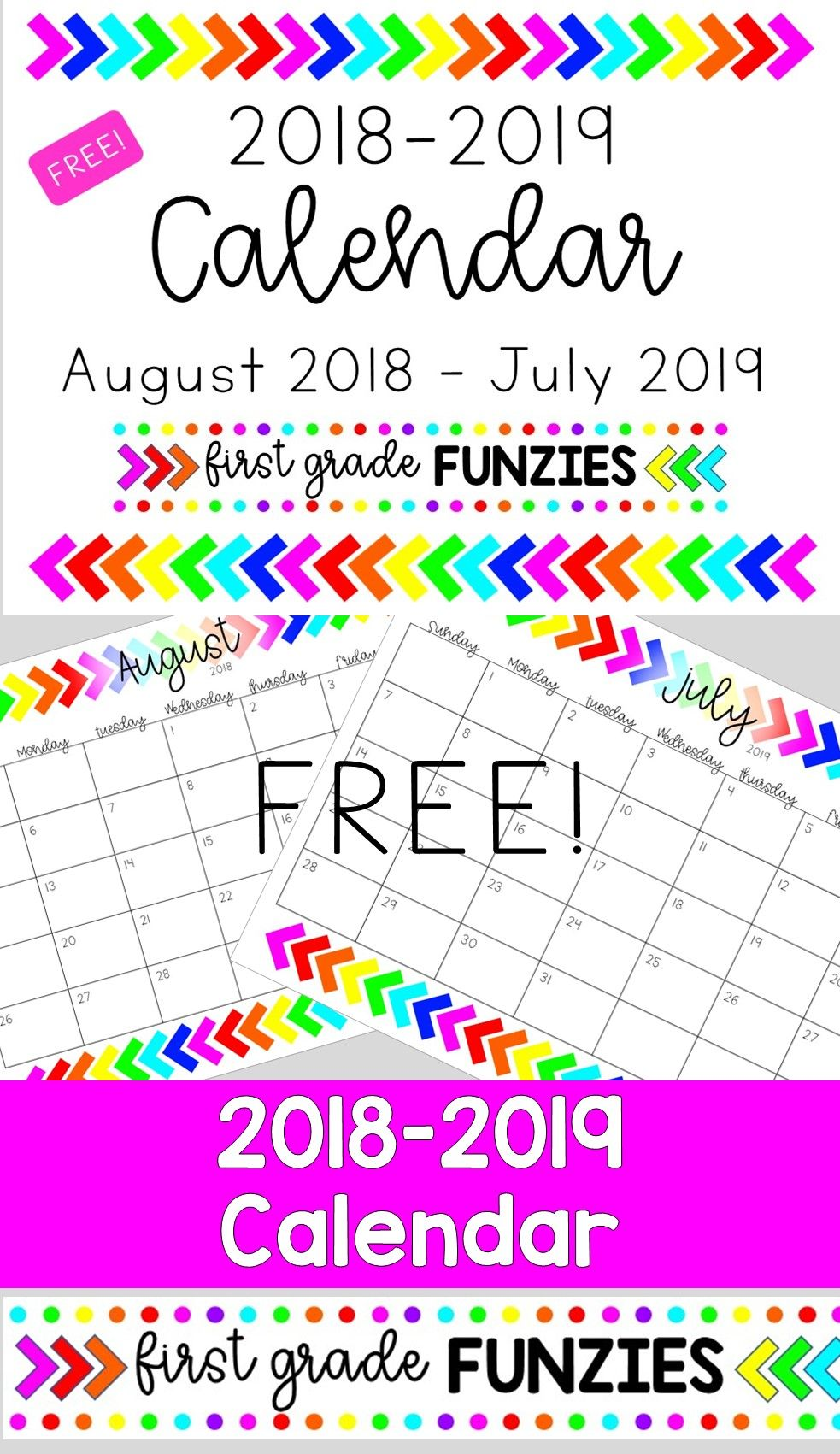 Free 2019 2020 Calendar First Day Of School Activities Teacher