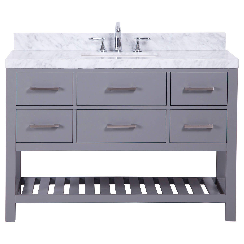 Belvedere 48 Inch Traditional Freestanding Grey Marbe Top Bathroom