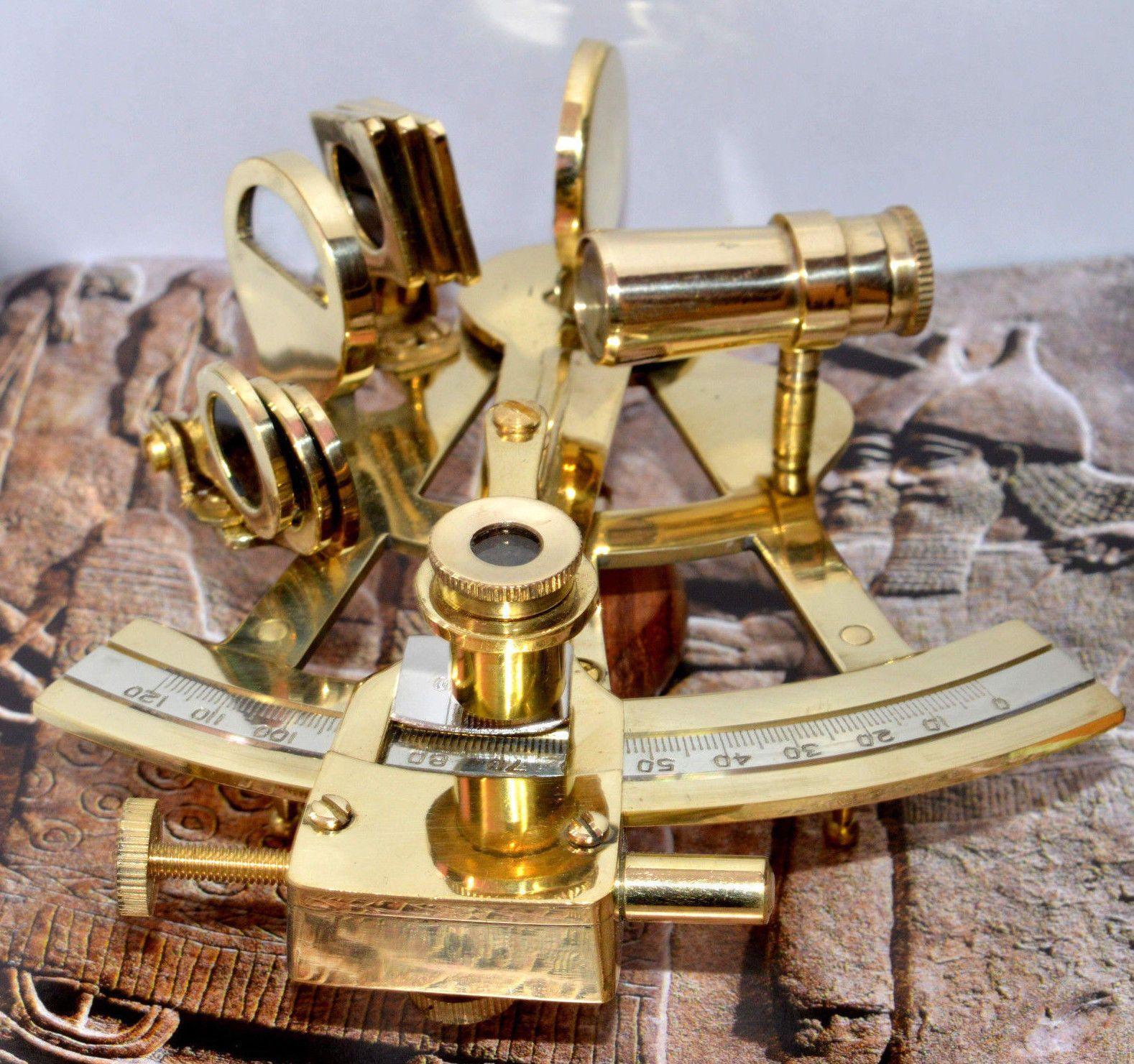 Maritime Brass Sextant Marine Design Navigation Vintage Astrolabe Nautical Sextant Decor Maritime Navigational Instruments