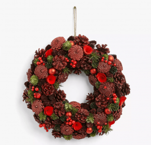 This festive Christmas wreath is under £35! This densely-packed Christmas wreath would make a beautiful addition to your front door this Christmas. Real glitter-covered pinecones, seedheads, baubles and berries. Size 34cm. Click to buy. #AD #AF #Amazon #HomeGuideExpert #Christmas #ChristmasGifts #Xmaspresent #Xmasgift #Christmaswreath #Christmasdecorations #Christmas #xmasdecorations #Christmasiscoming #Christmastime #Christmasberries #festivewreaths #Christmastraditions #Christmasfrontdoor