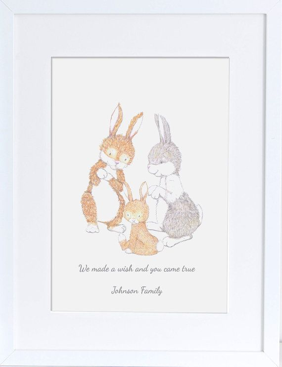Items Similar To Rabbit Family Nursery Art Children S Prints Bunny Ilration Personalised Drawing Gift For New Baby Wall Decor
