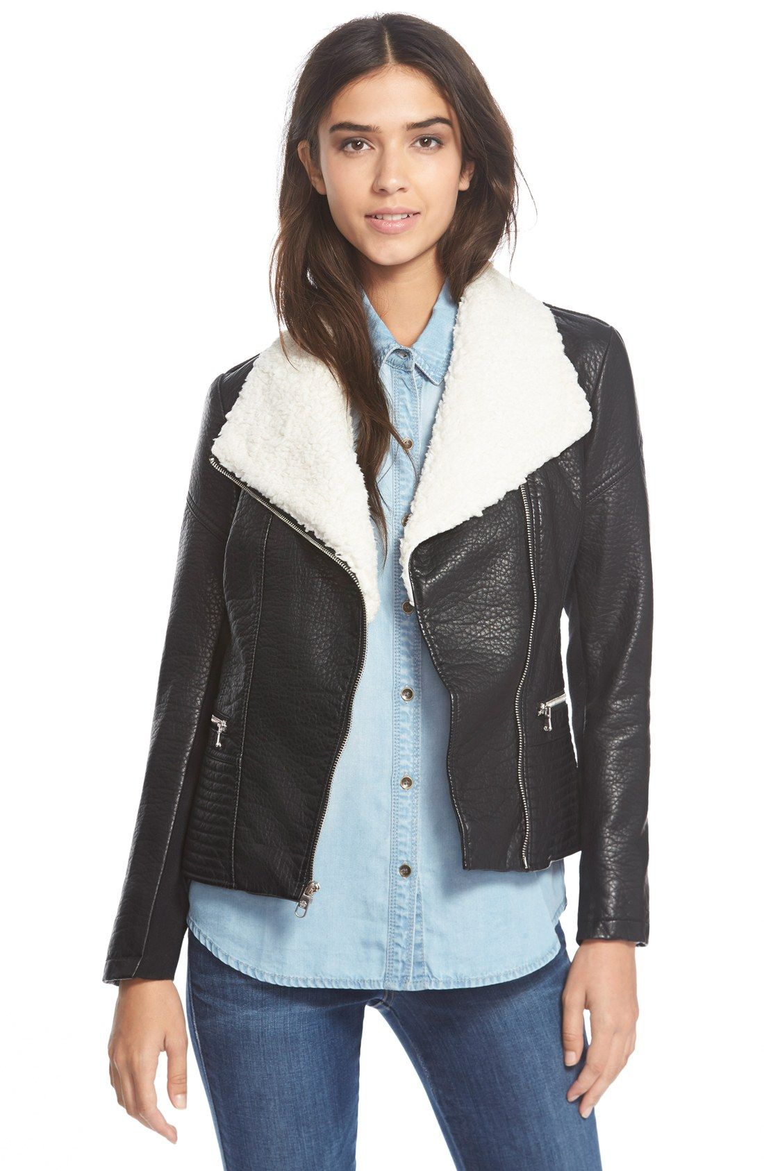 cozy fresh so cheap super cheap Jessica Simpson Faux Leather Jacket with Faux Shearling ...