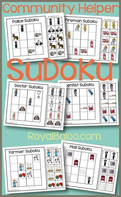 community helper sudoku homeschool printables pinterest