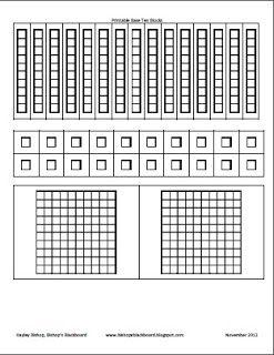 Bishop S Blackboard A First Grade Blog Printable Base Ten Blocks