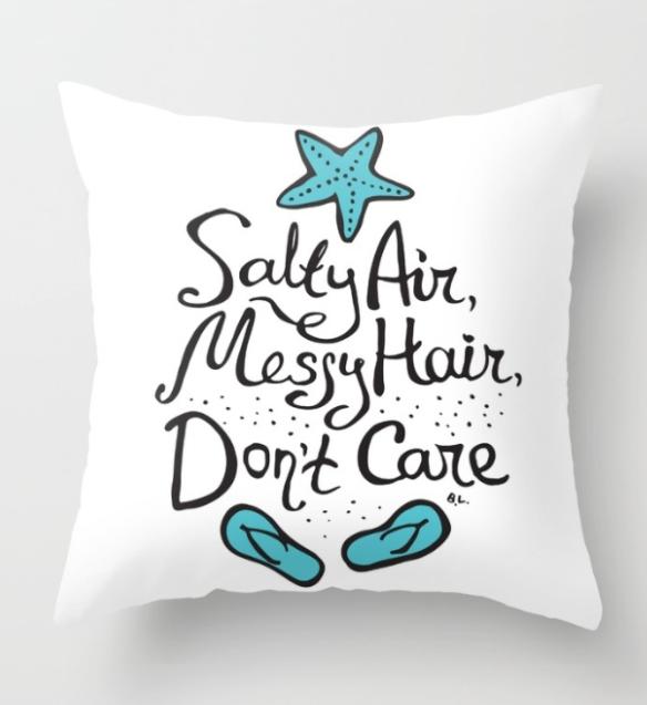 Super Cute Salty Air Messy Hair Don T Care Pillow