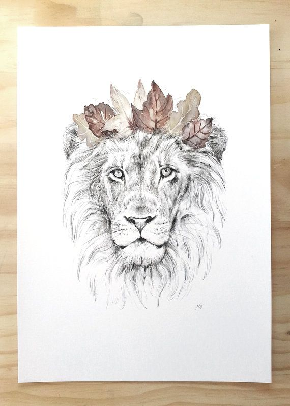 Lion Art Print Animal Art Print Of Lion And Crown Lion Art Animal Tattoos Watercolor Lion