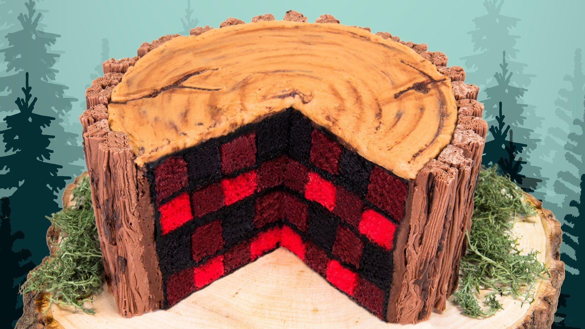 Flannel shirt cake  How to Make a Lumberjack Cake  Babyus st Birthday  Pinterest