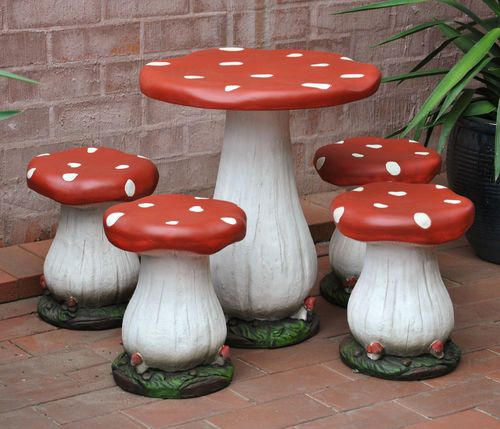 Toadstool Chairs: TOADSTOOL TABLE AND FOUR CHAIRS-CHILDRENS SETTING-mushroom