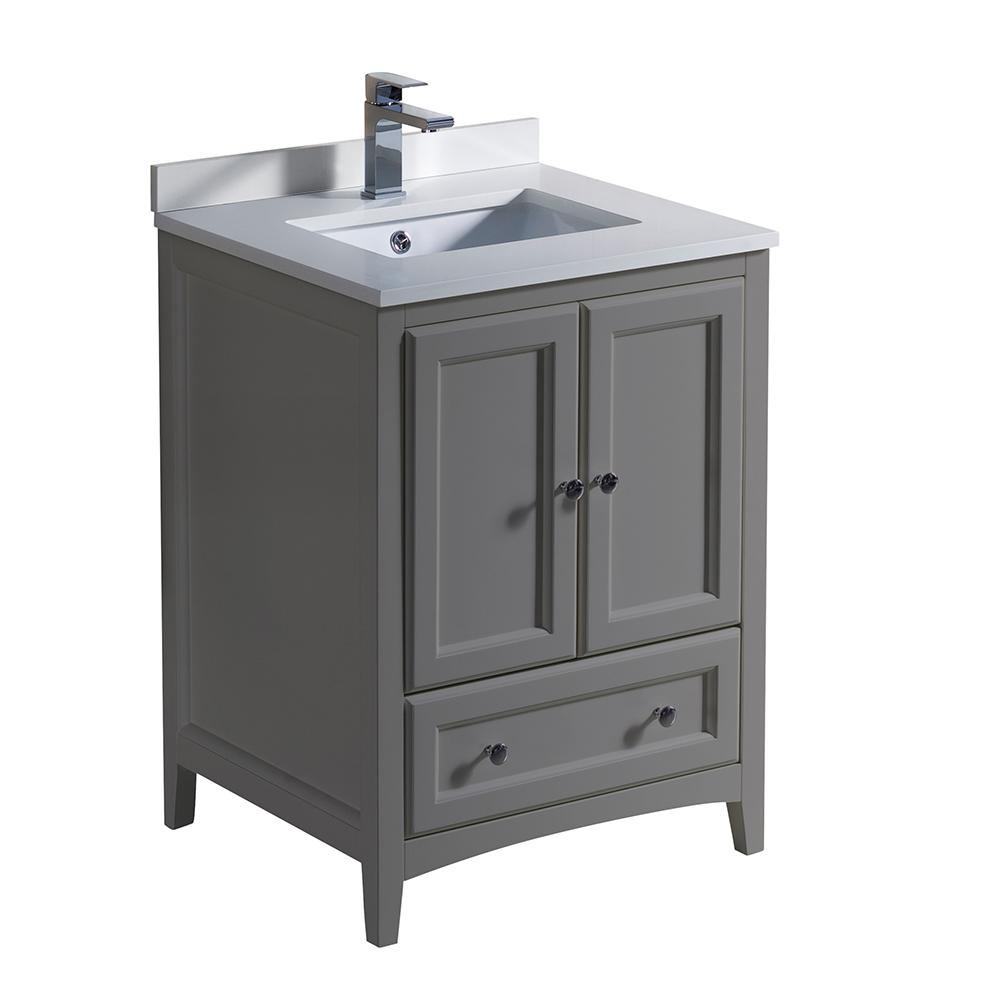 Fresca Oxford 24 In Traditional Bathroom Vanity In Gray With Quartz Stone Vanity Top In White With White Basin Fcb2024gr Cwh U In 2020 Grey Bathroom Cabinets Traditional Bathroom Cabinets Traditional Bathroom