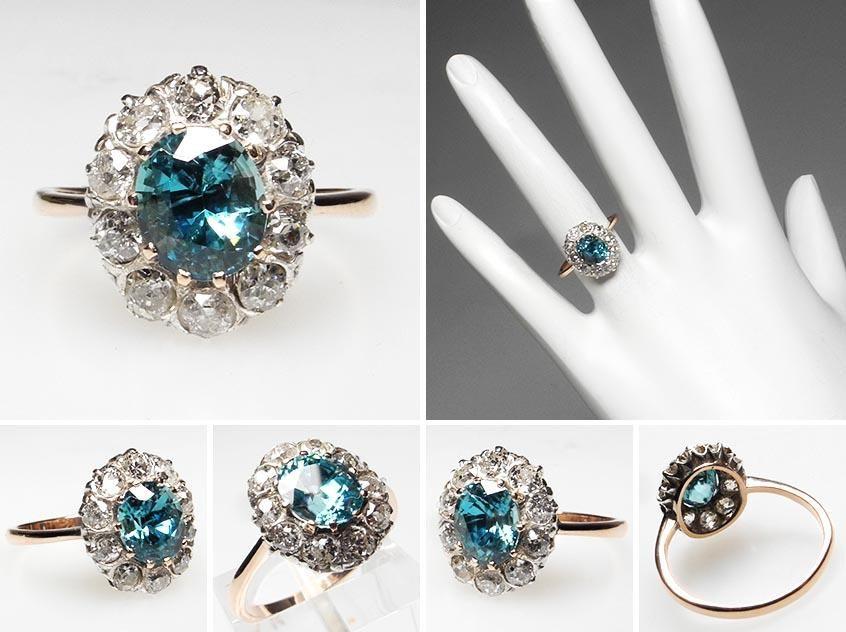 Victorian Era Blue Zircon Diamond Halo Ring Solid 14k Gold Fine Estate Jewelry