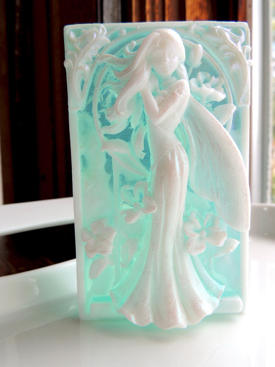 Fairy soapteal and white custom scented detailed soap by