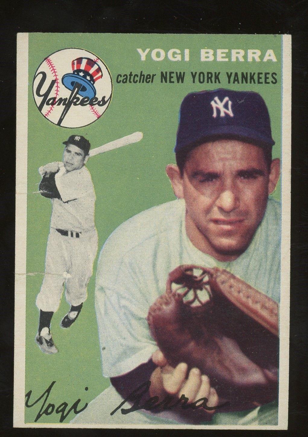 1954 Topps 50 Yogi Berra New York Yankees Hof Baseballcards Baseball Cards Old Baseball Cards Baseball Trading Cards