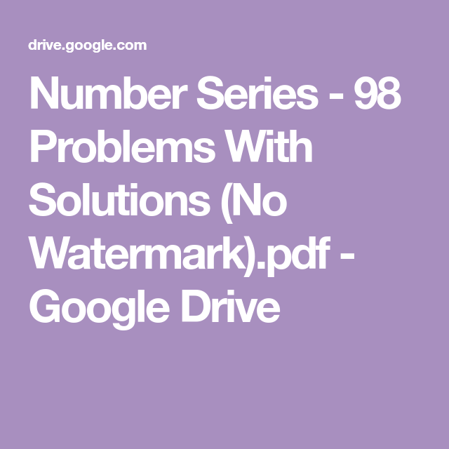 Number Series - 98 Problems With Solutions (No Watermark