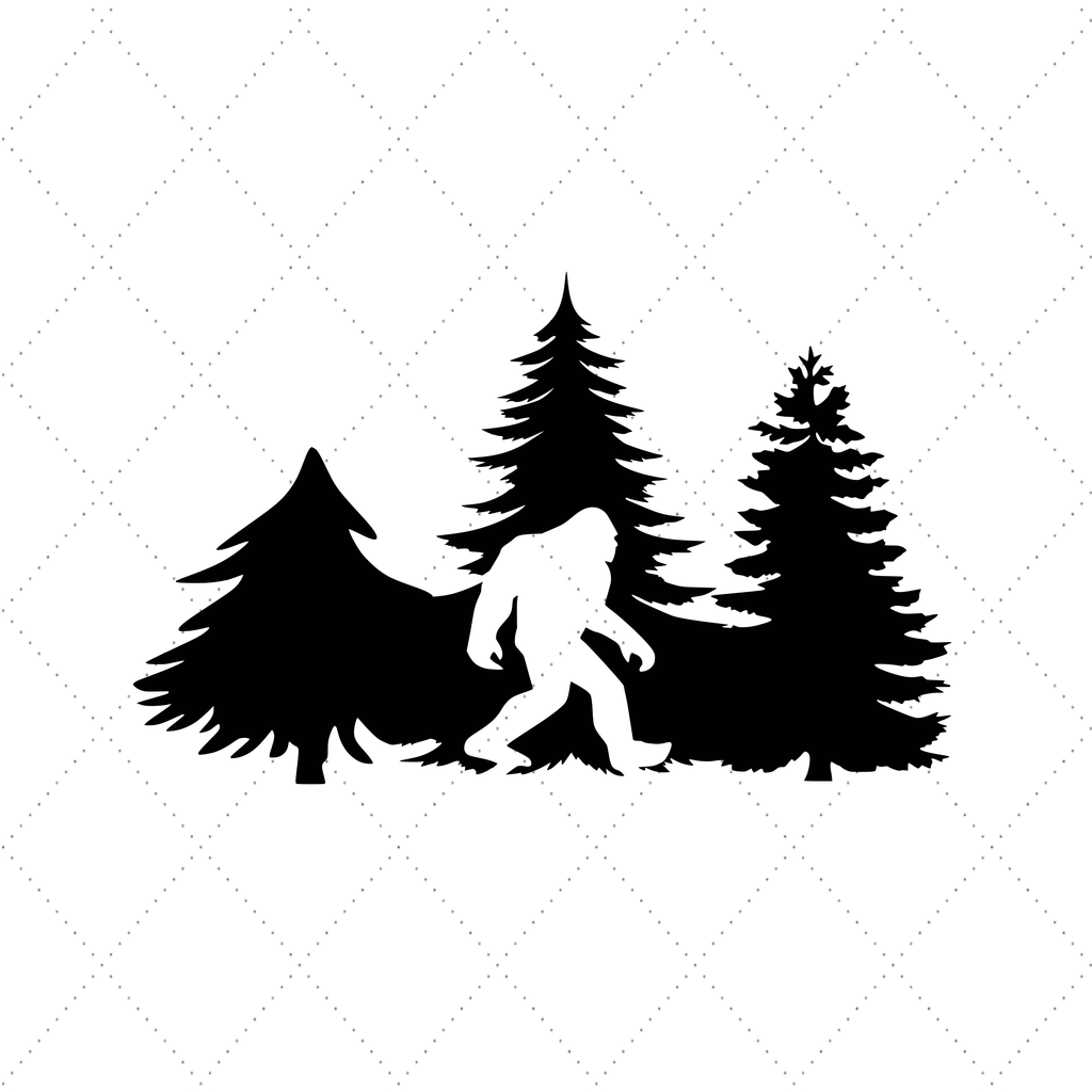 Big Foot and Pine Trees - SVG