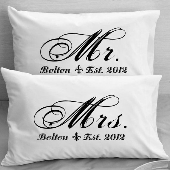 Practical Wedding Gifts For The Newlyweds: Mr And Mrs Pillowcases Custom Personalized Wife Husband
