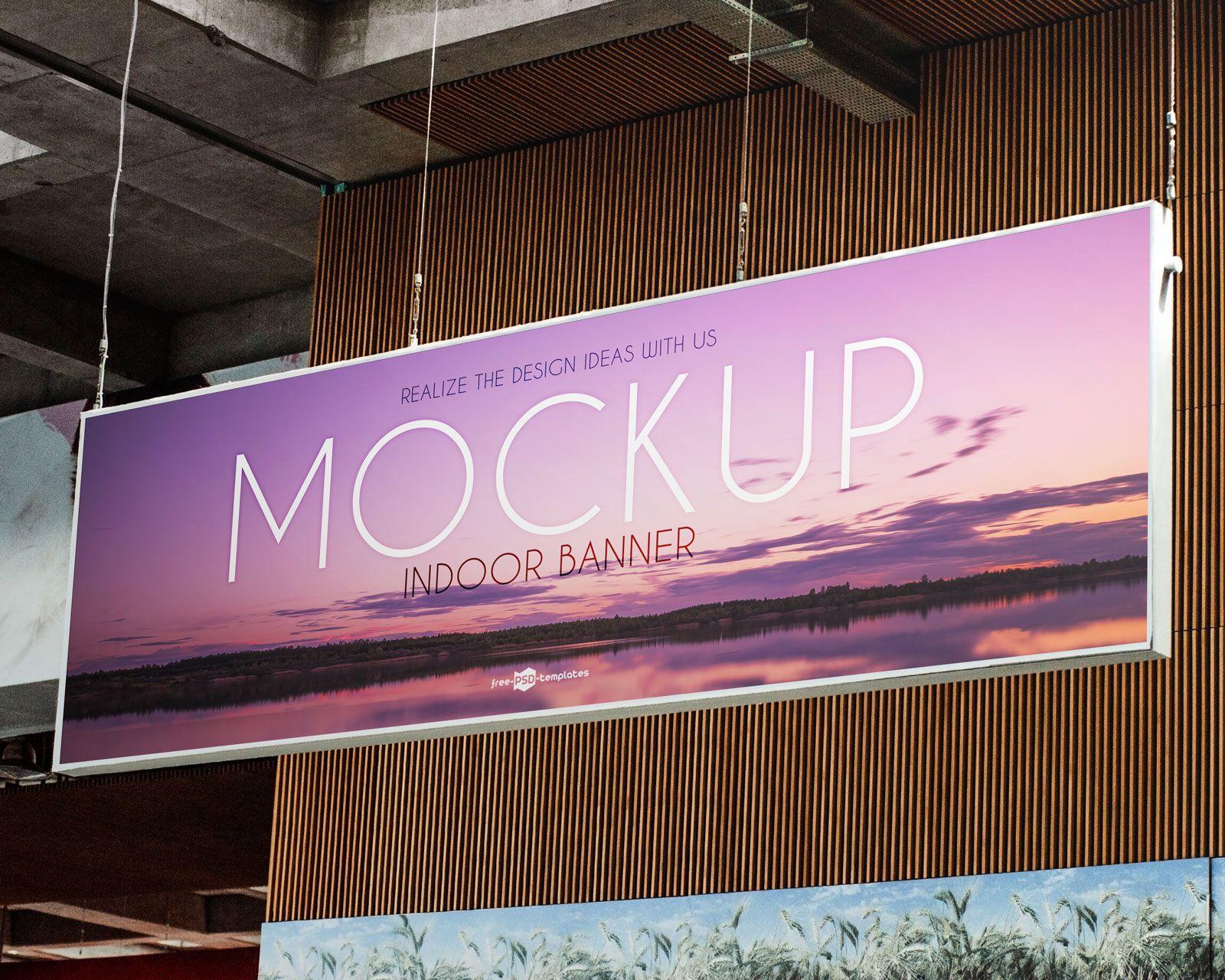 Free Indoor Advertising Banner Mockup Psd File Indoor Banner Banner Advertising Mockup Free Psd Download