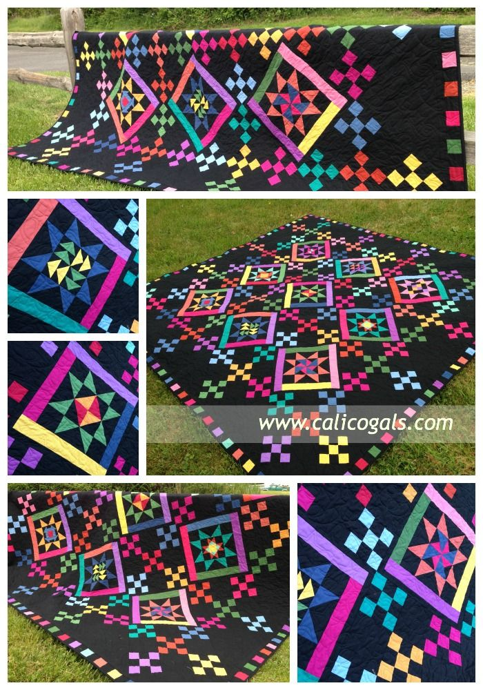 Image of bright, colorful quilt Old Friends quilt - Calico Girls ... : free quilt block of the month - Adamdwight.com