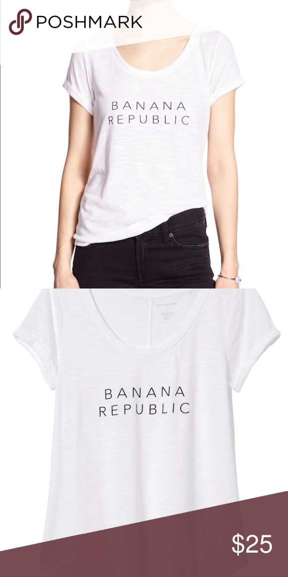 NWT Banana Republic Logo Tee Scoop neck. Short, cuffed