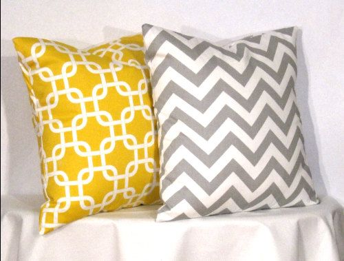 Decorative Pillows 1 Grey and White Chevron by Designer Pillow Shop