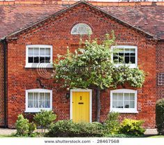 Red Brick House Yellow Front Door Google Search Hello Front