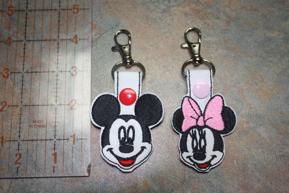 Mickey or Minnie Mouse Key Chain, Zipper Pull, Purse Charm, Snap Tab - Great Accessory!