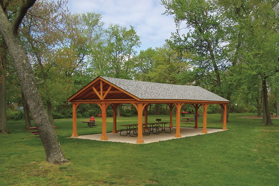 20 X 40 Standard Wood Pavilions Charcoal Gray Shingles 7