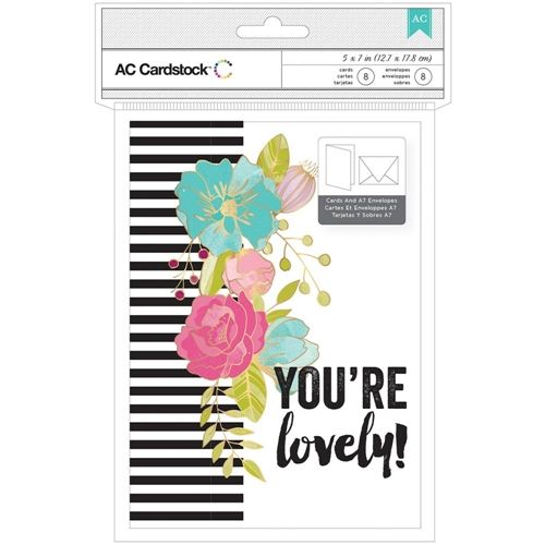 American Crafts YOU'RE LOVELY Valentine Cards with Envelopes 373724
