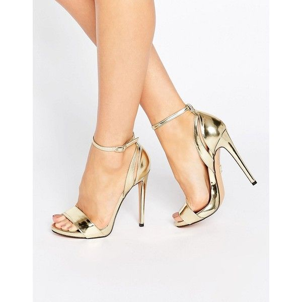 e0f0e5c98bef Lost Ink Raula Gold Ankle Strap Heeled Sandals ( 58) ❤ liked on Polyvore  featuring shoes