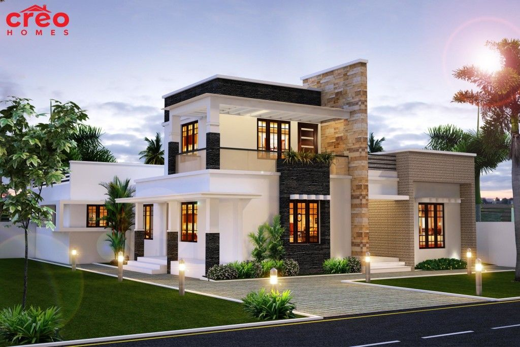 Square feet meter yards bedroom modern flat roof house designed by inex builders also rh ar pinterest