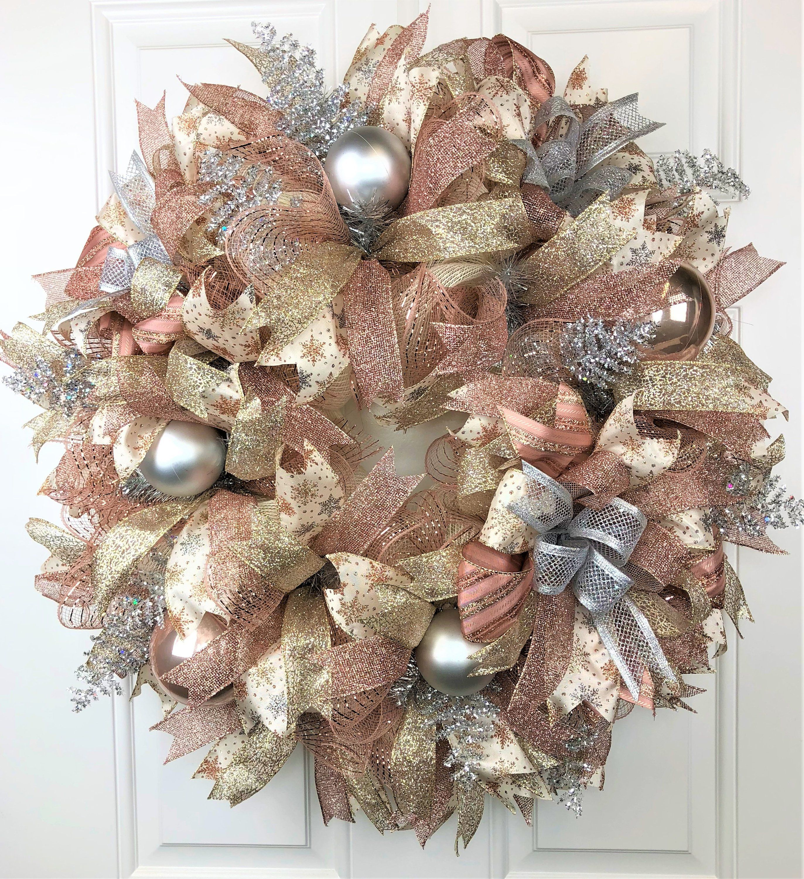 Rose Gold Wreath, Rose Gold Christmas Wreath, Rose Gold Christmas Decor, Rose Gold and Champagne, Rose Gold Christmas, Large Christmas images