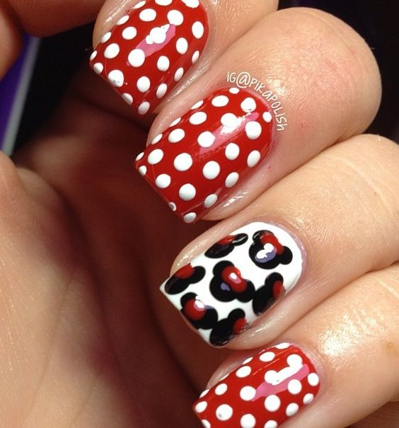 Minnie Mouse nail design | Nails | Pinterest | Decoración de uñas ...