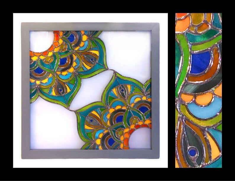 Zen Stained Glass Panel 12x12 Etsy In 2020 Stained Glass Panel Stained Glass Art Glass Panels