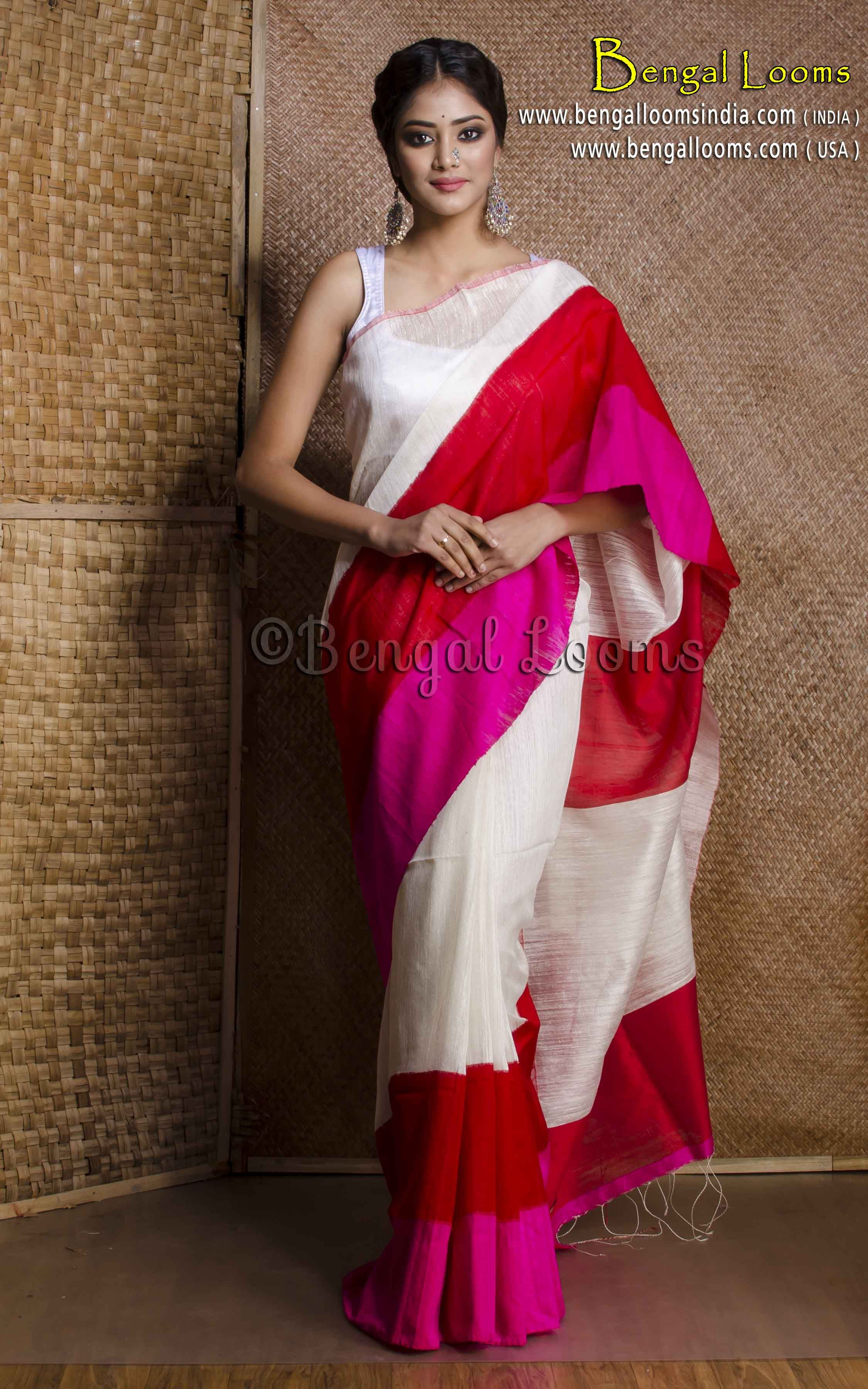 95d15bd1ab Pure Handloom Khadi Matka Tussar Silk Saree in White, Red and Hot Pink