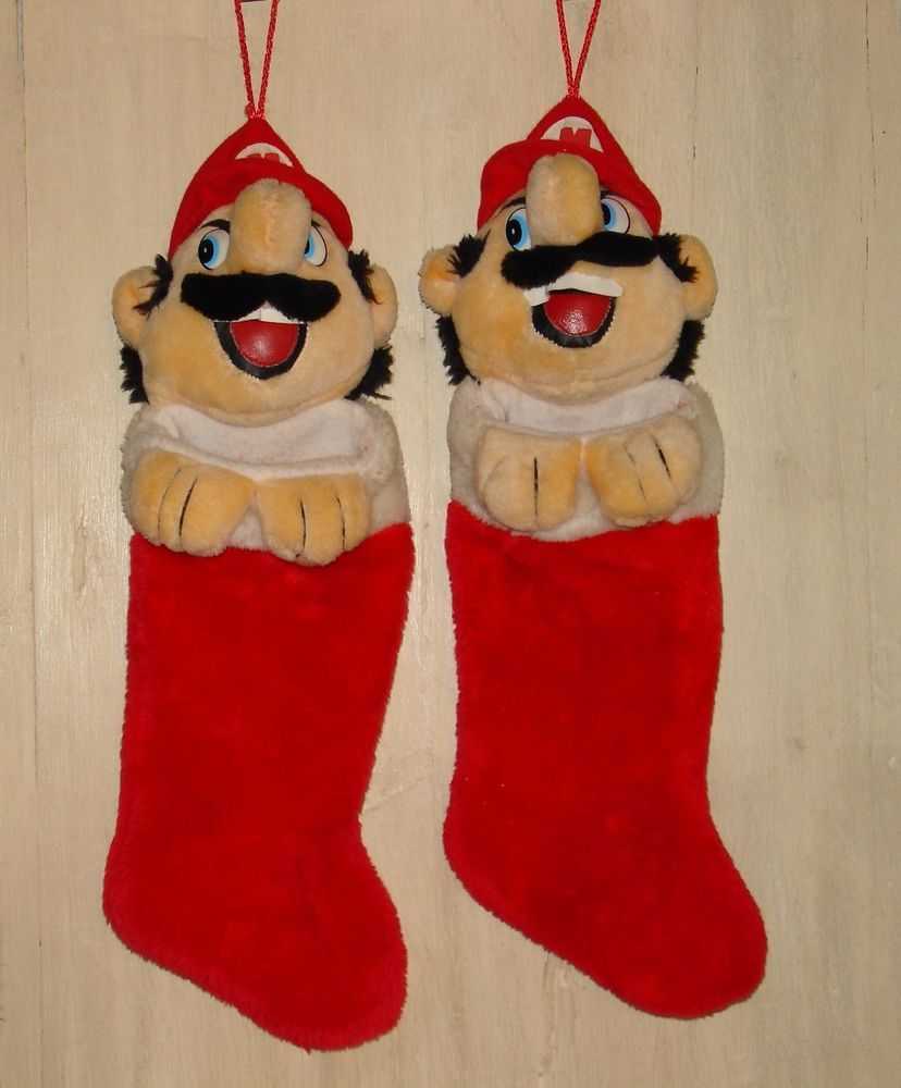 Super Mario Christmas Stocking.Details About Super Mario Vintage Plush Christmas Stockings