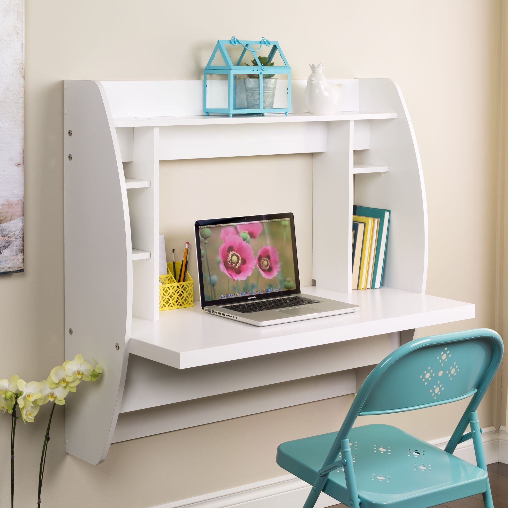 Prepac Floating Writing Desk With Storage White Floating Desk Space Saving Desk Desks For Small Spaces