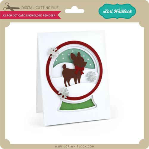 Pop dot card with a small reindeer in a snowglobe