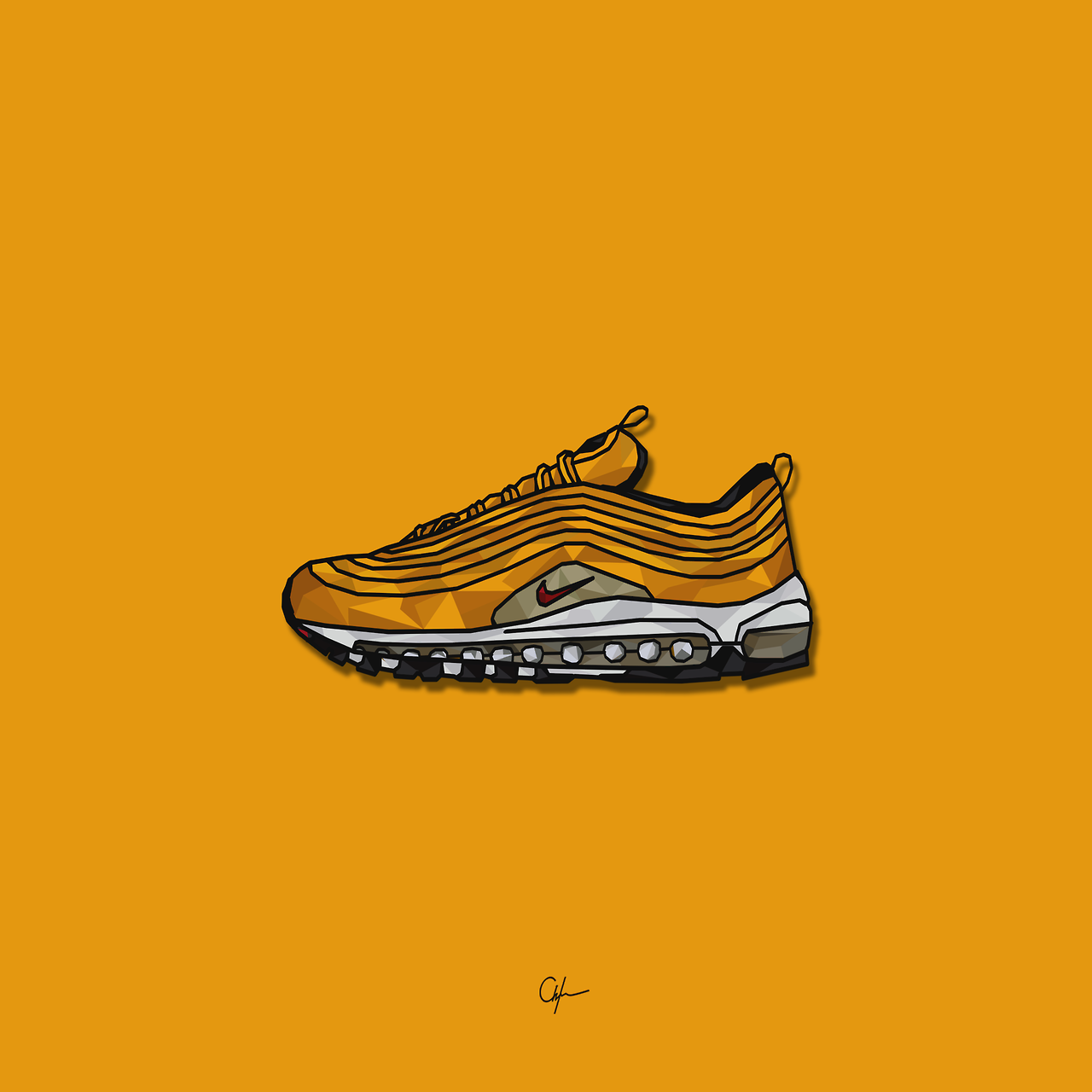 Nike Air Max 97 Gold Art x Younmarx | #art #nike #nike97