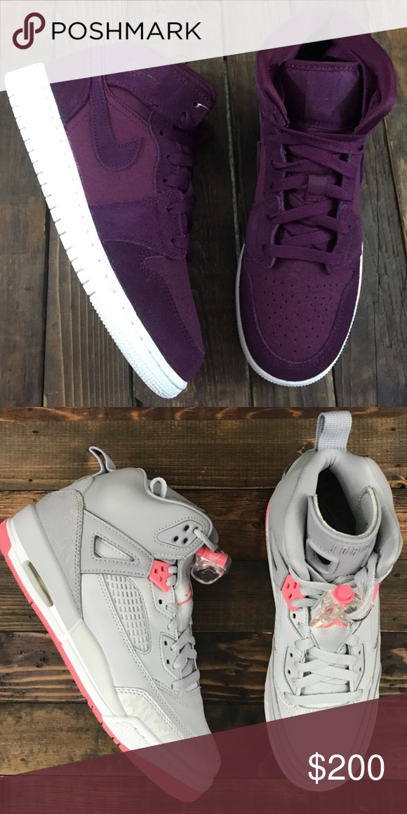 83a9e9a4ef9 Jordan bundle Maroon Jordan retro 1s size 6 y or 8 women s (24 cm) and grey  and pink Jordan Spizike size 6.5 y or 8.5 (24.5). Small maroon dye flaw on  the ...