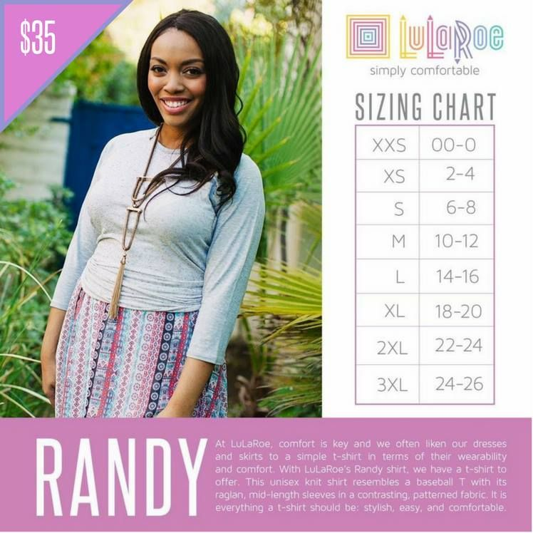 Randy T Size Chart LuLaRoe Styles and Sizing Info Pinterest