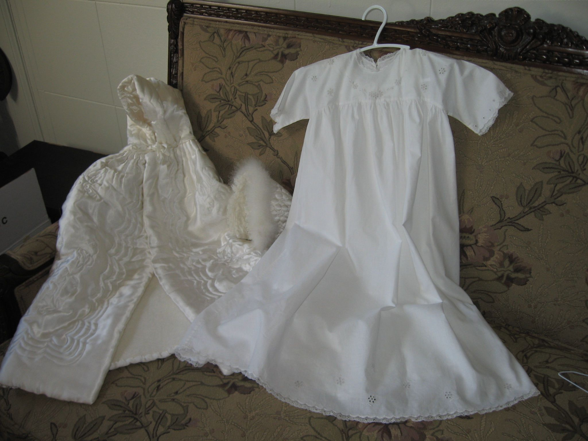 Christening cape and bonnet with dress
