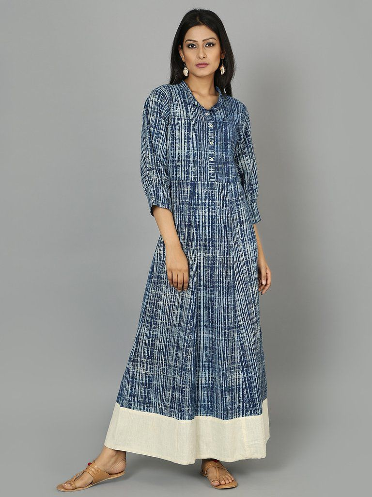 Indigo Cotton Maxi Dress with White Border | THE LOOM WESTERN WEAR ...
