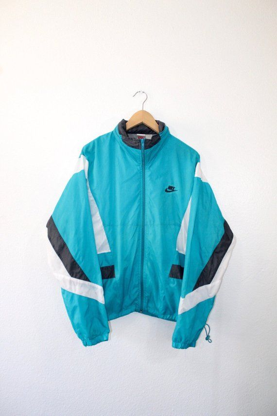 e4499df353cb Vintage 80s 90s Nike Air Swoosh Hooded Windbreaker Jacket Size Large Light  Blue Grey White Nike Grey