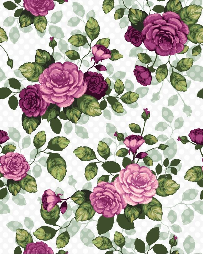 Vector Beautiful Rose Flowers Seamless Background Material