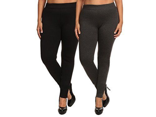 65e37af4ea3e98 ShoSho Women's Plus Size Basic Leggings (Thick Fur-Lined Solid  Black&Charcoal), 2X